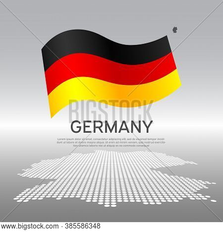 Germany Wavy Flag And Mosaic Map On Light Background. Creative Background For The National German Po
