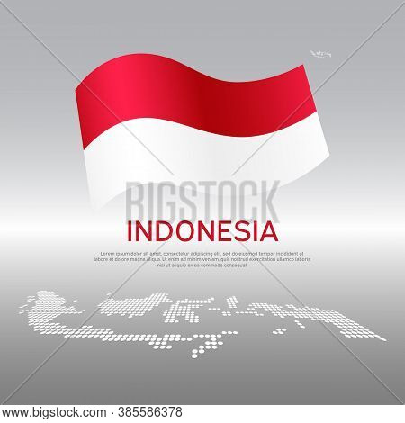 Indonesia Wavy Flag And Mosaic Map On Light Background. Creative Background For The National Indones