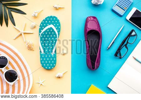 Summer Vacation And Job Busy Concepts With Different Lifestyle Of Accessory On Colorful Background.r