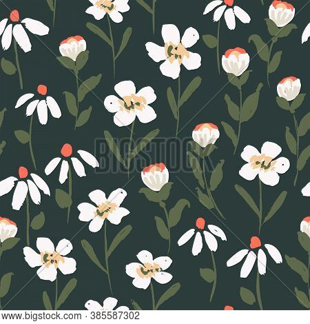 Midnight Fairy Blossoms Seamless Vector Pattern. Fairy Like White Flowers With Yellow And Red Detail