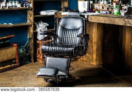 Barbershop Interior. Barber Shop Chair. Barbershop Armchair, Modern Hairdresser And Hair Salon, Barb