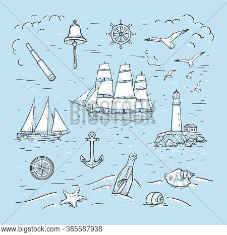 Marine Sketch Hand Drawn Vector Set With Sailboat, Lighthouse, Seagulls, Anchor, Yacht, Bottle, Spyg
