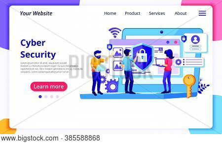 Cyber Security Concept, People Access And Protecting Data Confidentiality. Modern Flat Web Page Desi