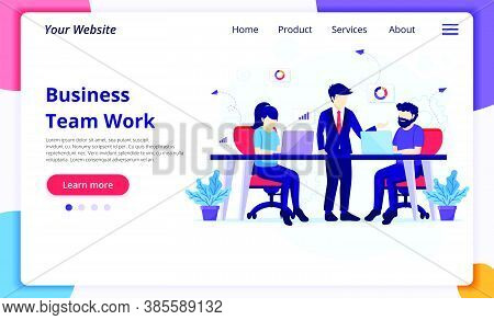 Team Work In Co-working Space Concept, People Work On Desk. Modern Flat Web Page Design For Website