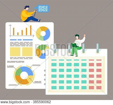 Teamwork Concept. Vector Illustration Joint Work In The Company. Workers Communicate, Solve Business