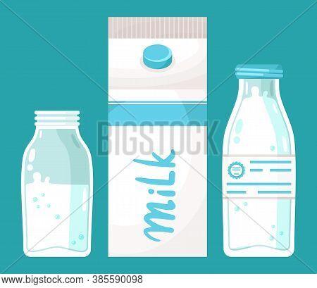 Dairy Products Set. Milk And Milk Drinks Yogurt Illustration Of Milk Packing On Blue Background. Whi