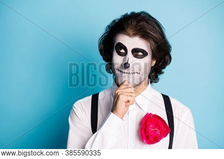Close-up Portrait Of His He Handsome Evil Demonic Minded Guy Pondering Santa Muerte Festival Event O