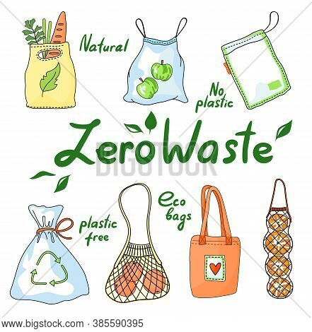 Set Of Zero Waste Eco Bags, String Mesh Cotton Bag, Heart Logo, Recycling Sign, Grocery Bags, Fast D