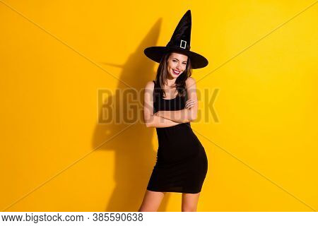 Photo Of Positive Stunning Witch Lady Enchant Cross Hands Enjoy Halloween Theme Party Wear Trendy Lu