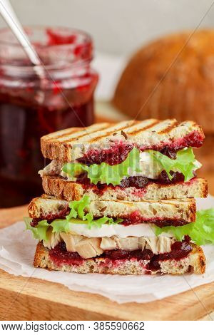 Delicious Turkey Or Chicken Sandwich With Brie Or Camembert Cheese, Lettuce And Cranberry (lingonber