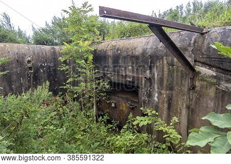 Old Abandoned Bunker In The Woods. Military Fort. Fort Number 10, Vladivostok, Russia.