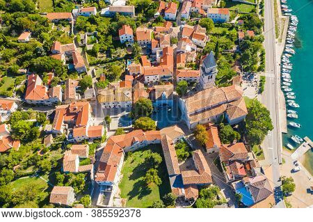 Historic Town Of Osor Between Islands Cres And Losinj, Croatia, Aerial View From Drone