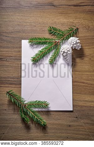 empty paper  with fir branches and cones on the wooden background