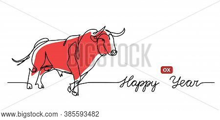 Happy Ox Year Simple Vector Banner, Background. Chinese New Year 2021 Concept With Red Cow, Bull. On