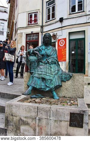 Coimbra / Portugal - 14 May 2015: The Statue In Coimbra City, Portugal