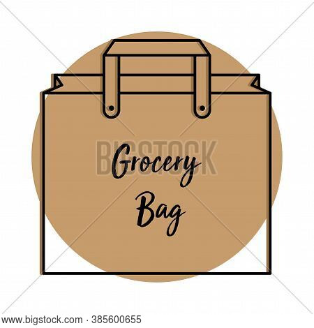 Empty Grocery Bag Icon. Shopping Bag Icon - Vector