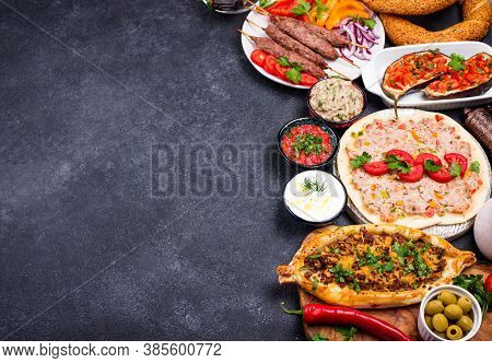 Traditional Turkish Or Middle Eastern Dishes. Kebab, Meze, Pide, Lahmajoun, Tea And Coffee