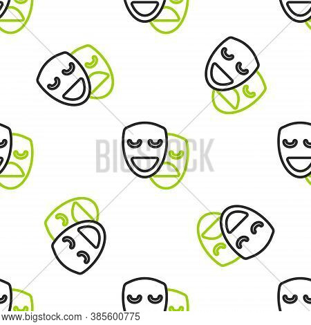 Line Comedy And Tragedy Theatrical Masks Icon Isolated Seamless Pattern On White Background. Vector