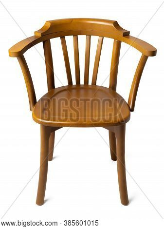 Old-fashioned Vintage Wooden Chair Isolated On White