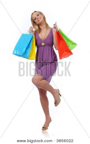 Teen Girl Shopping Jumping Of Joy
