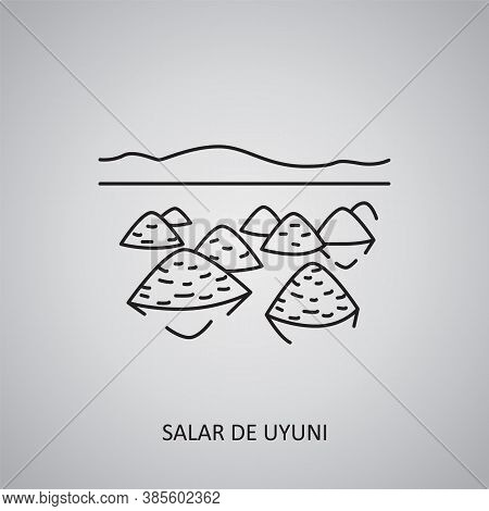 Salar De Uyuni Icon On Grey Background. Bolivia, Uyuni. Line Icon