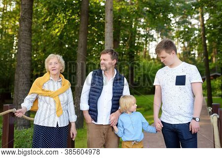 Big Family Of Senior Woman And Her Adult Son With His Two Sons. Grandmother And Grandchildrens. Thre