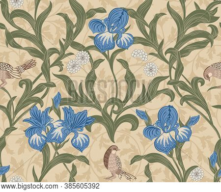 Vintage Floral Seamless Pattern With Blue Flowers And Foliage On Light Background. Middle Ages Style