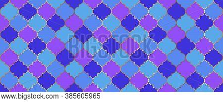 Ramadan Kareem Islamic Decoration. Moroccan Seamless Mosaic Pattern. Arabic Mosque Window Motif. Tra