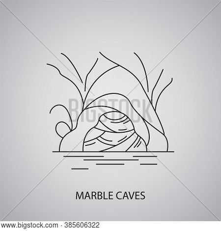 Marble Caves Icon On Grey Background. Chile, Chile Chico. Line Icon