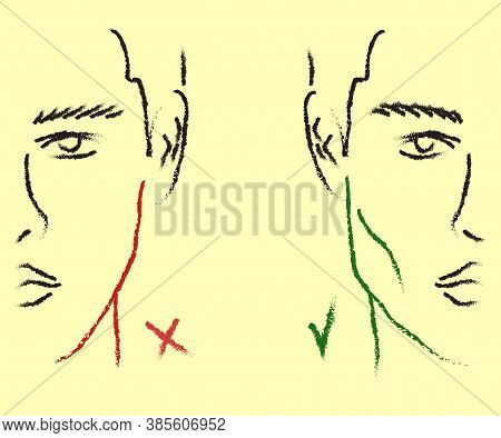 Silhouette Of A Male Face On The Background. Correction Of The Shape Of The Face And Chin. Vector Il