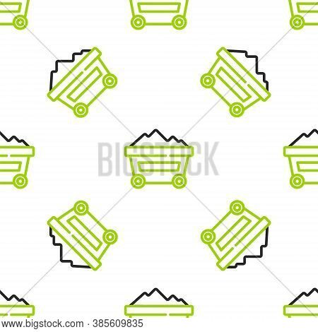 Line Coal Mine Trolley Icon Isolated Seamless Pattern On White Background. Factory Coal Mine Trolley