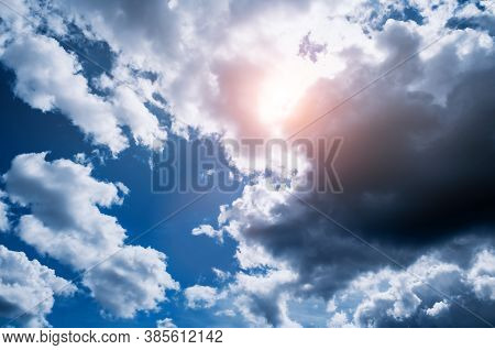 Blue sky background, thundery sky landscape scene. Colorful cloudy sky view in bright tones. Sky landscape, bright sky nature scene. Vast sky background, colourful sky view, cloudy sky landscape