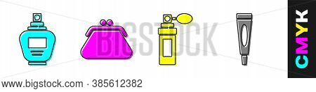 Set Perfume, Clutch Bag, Perfume And Cream Or Lotion Cosmetic Tube Icon. Vector