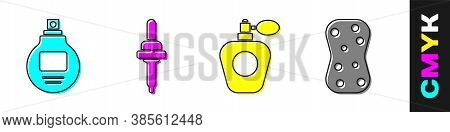 Set Perfume, Pipette, Perfume And Sponge With Bubbles Icon. Vector