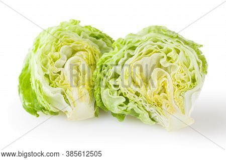 Fresh Iceberg Letuce Isolated On White Background With Clipping Path