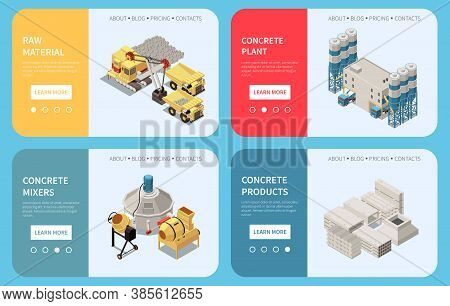 Horizontal Concrete Cement Production Isometric Banner Set With Raw Material Concrete Plant Mixers A