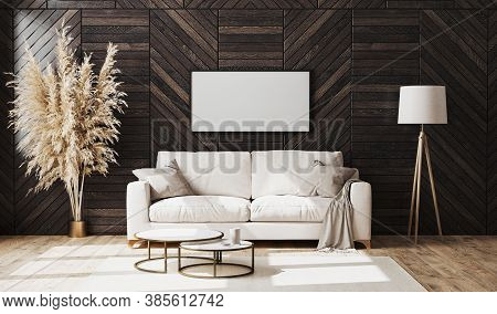 Blank Picture Frame In Modern Luxury Living Room Interior With Beige Sofa And Decorative Wood Wall P