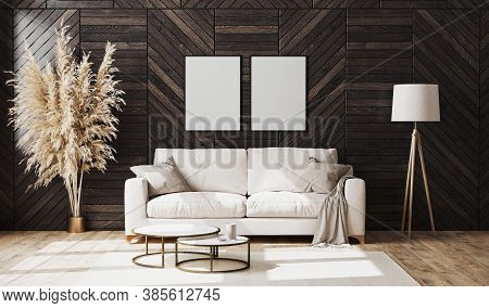 Blank Poster Frames In Modern Luxury Living Room Interior With Beige Sofa And Decorative Wood Wall P