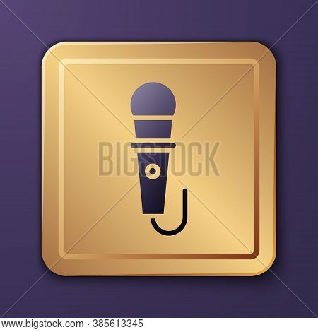 Purple Microphone Icon Isolated On Purple Background. On Air Radio Mic Microphone. Speaker Sign. Gol