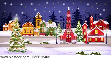 Winter Christmas Landscape With Holiday Town, Snow, Houses, Night Sky, Stars,decorated Pine. X-mas N