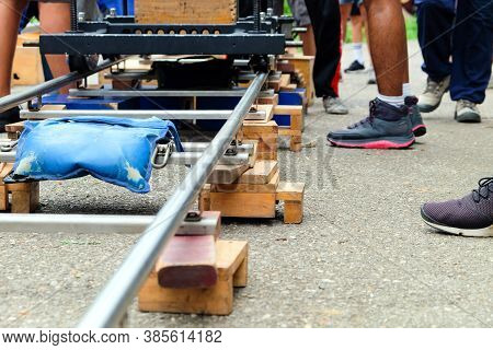 Filming Crew, Close Up Of Camera Dolly , Film Industry Equipment