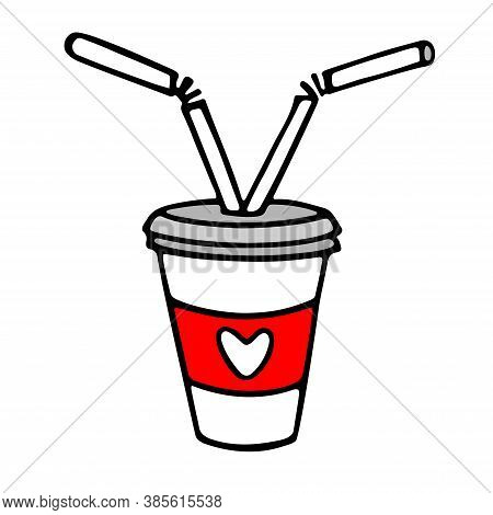 Take Away Coffee Cup For Couple In Love. Doodle Hand Drawn Vector Illustration. Coffee To Go. Hot Dr