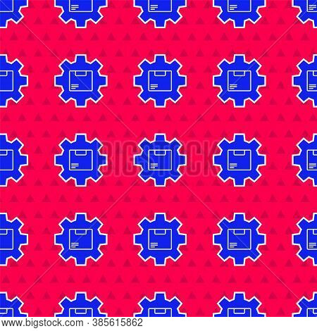 Blue Gear Wheel With Package Box Icon Isolated Seamless Pattern On Red Background. Box, Package, Par