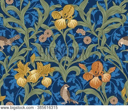 Vintage Floral Seamless Pattern With Orange Iris And Birds On Blue Background. Middle Ages Style Wil