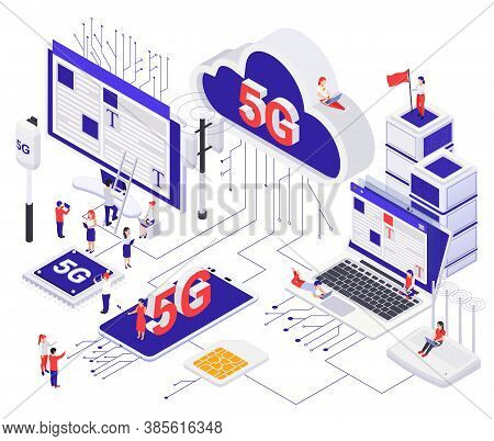 Modern 5g Internet Communication  Concept With Router Cloud Sim Card Mobile Phone Chip Cellular Aeri