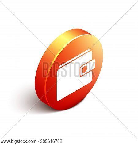 Isometric Wallet Icon Isolated On White Background. Purse Icon. Cash Savings Symbol. Orange Circle B