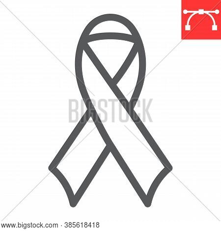 Worlds Aids Day Line Icon, Aids And Hiv, Red Ribbon Sign Vector Graphics, Editable Stroke Linear Ico