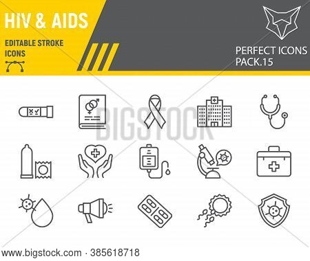 Hiv And Aids Line Icon Set, Healthcare Collection, Vector Sketches, Logo Illustrations, Hiv Icons, M