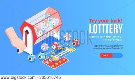 Isometric Fortune Lottery Win Horizontal Banner With Images Of Prize Tickets Drawing Balls And Edita