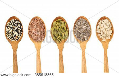 Organic Grains Seeds In Wooden Spoon, Chia Seed, Sesame,flax Isolated On White Background